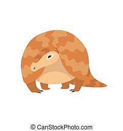 Pangolin Rare Species of Animals Cartoon Vector Illustration