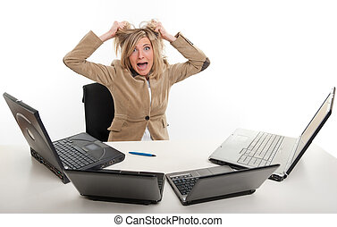 Panic at the office - Panicked young woman in front of four...