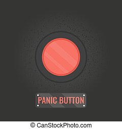 Panic button sign on black background