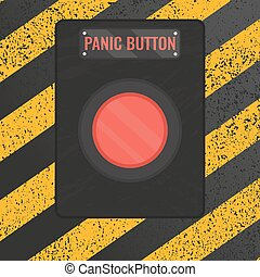 Panic button sign on yellow striped background