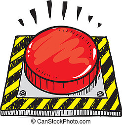 Panic button sketch - Doodle style big red panic button...