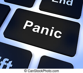 Panic Computer Key Showing Anxiety Stress And Hysteria -...
