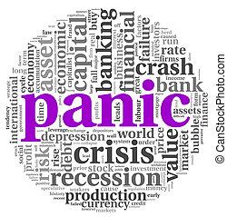Panic concept on white