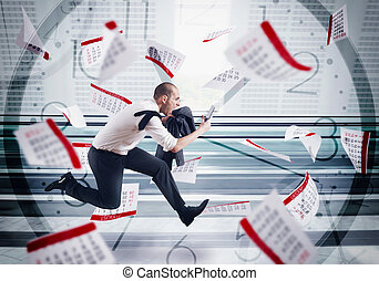 Panic deadlines - Man runs screaming with calendar sheets ...