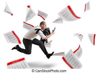Panic deadlines - Man runs screaming with calendar sheets...