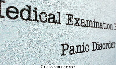 Panic disorder medical report