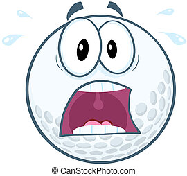 Panic Golf Ball Character - Panic Golf Ball Cartoon Mascot...
