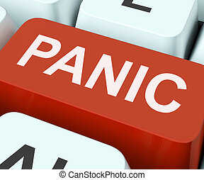 Panic Key Showing Panicky Terror Or Distress