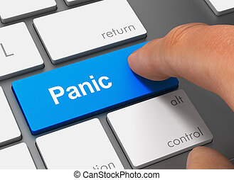 panic pushing keyboard with finger 3d illustration - panic...