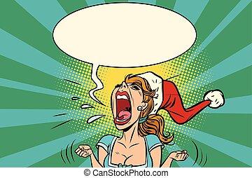 panic rage anger screaming Santa girl. Comic book cartoon...