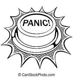 Panic red button coloring book vector