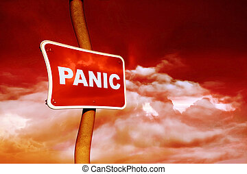 Panic sign against a red sky