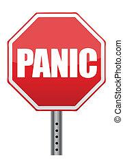panic stop sign illustration design