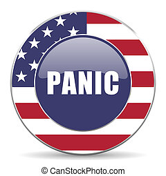 Panic usa design web american round internet icon with shadow on white background.