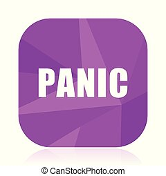 Panic violet square vector web icon. Internet design and webdesign button in eps 10. Mobile application sign on white background.