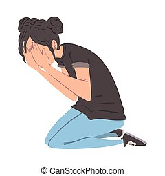 Panicked Man Sitting on the Floor on His Knees Covering her Face with her Hands, Anxiety or Panic Attack, Stressed or Depressed Nervous Person Vector Illustration
