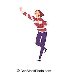 Panicked Woman Running, Worried or Scared Nervous Person, Human Emotions and Feelings Vector Illustration