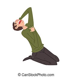 Panicked Young Man Sitting on the Floor on His Knees, Anxiety or Panic Attack, Stressed or Depressed Nervous Person Vector Illustration