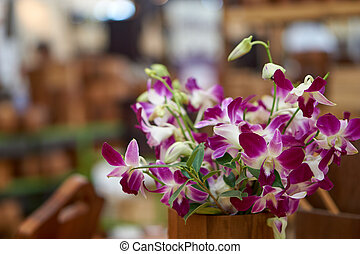 Panicle of orchid in wood vase with blurry background