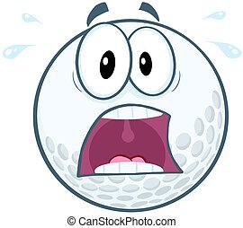 panico, palla, golf, carattere