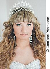 panieński, korona, szczelnie-do góry, twarz, bride., portret