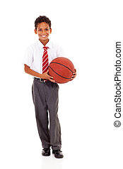 panier, élémentaire, balle, tenue, écolier