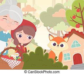 panier, équitation, peu, capuchon, fée, loup rouge, maison, conte, grand-maman, forêt, dessin animé