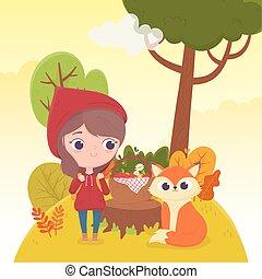 panier, équitation, peu, capuchon, fée, nourriture, loup rouge, conte, forêt, dessin animé