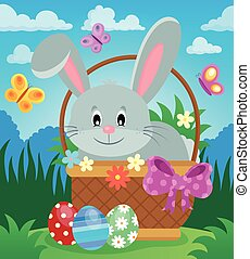 panier, 3, paques, thème, lapin