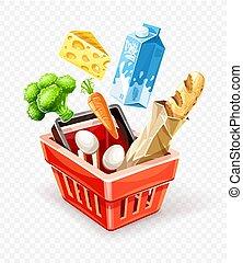 panier, achat aliment, organique