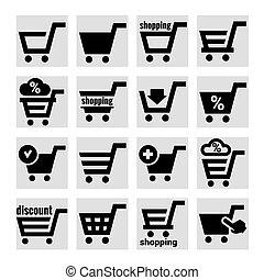 panier, achats, icônes