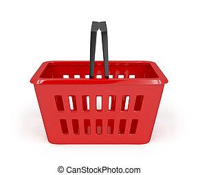 panier, achats, rouges