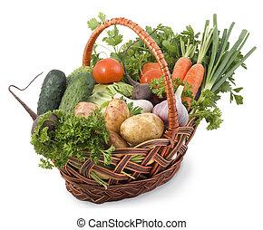 panier, arrière-plan., légumes, blanc, isolé