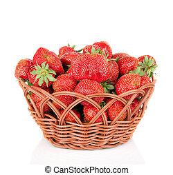 panier, blanc, fraises, isolé
