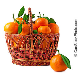 panier, blanc, mandarines, fond