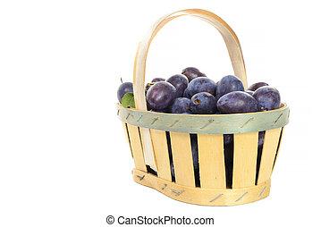 panier, blanc, prunes, fond