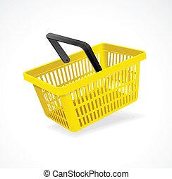panier, blanc, vecteur, achats, jaune