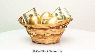 panier, concept., paques, investissement, dollars, doré, ...