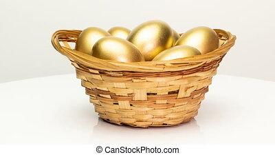 panier, concept., paques, investissement, doré, blanc, ...