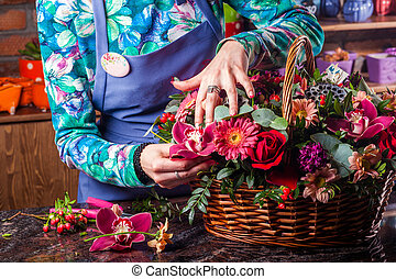 panier, de, flowers.