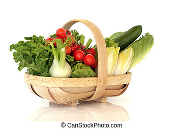 panier, de, frais, salade, légumes