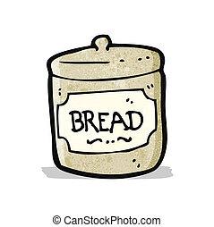 panier, dessin animé, pain