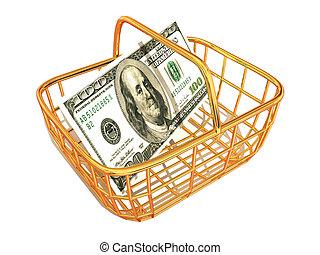 panier, dollar, consommateur