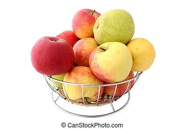panier, entiers, pomme