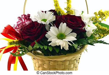 panier, fleurs blanches, fond