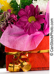 panier, fleurs blanches, isolé