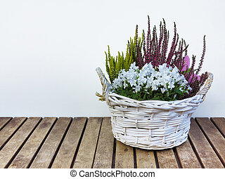 panier, fleurs, bruyère