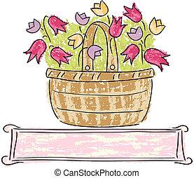 panier, fleurs
