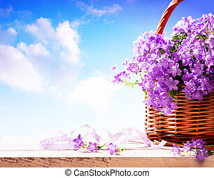 panier, fleurs ressort, campanules