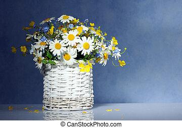 panier, fleurs ressort